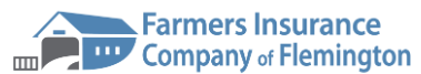 Logo for Farmers Insurance of Flemington. Shows name and picture of a barn.